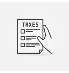 Hand holding tax form vector