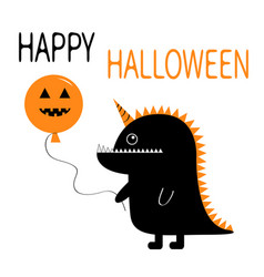 Happy halloween black silhouette monster with vector