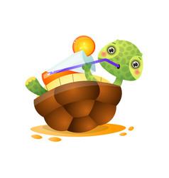 happy smiling kawai turtle lying back on yellow vector image