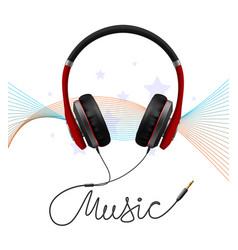 headphone earphone realistic composition vector image