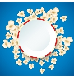 Heap popcorn for movie lies on blue background vector image