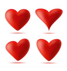 heart 3d logo set valentine heart icon vector image