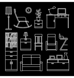 Home accessories and furniture icons vector
