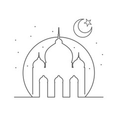 Islamic mosque outline symbol design vector