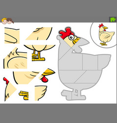 Jigsaw puzzle game with chicken farm bird animal vector