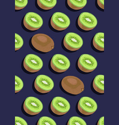 kiwi fruit seamless pattern whole and piece vector image