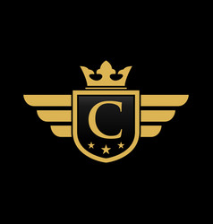 letter c shield wing vector image