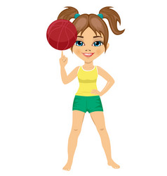 little girl spinning basketball ball with finger vector image