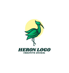 Logo heron simple mascot style vector
