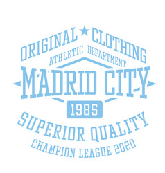 Madrid city sport t-shirt design vector