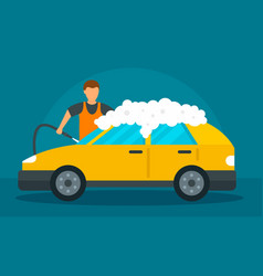 man foam car wash concept background flat style vector image