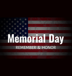 memorial day background usa flag on dark vector image