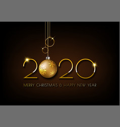 Merry christmas gold 2020 design on dark brown vector