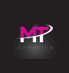 Mt m t creative letters design with white pink vector