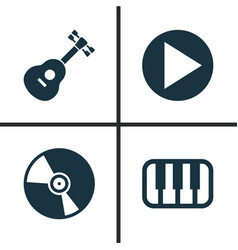Music icons set collection of cd octave vector