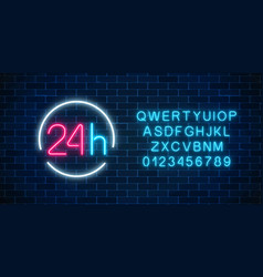neon open 24 hours sign in circle frame with vector image