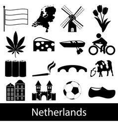 Netherlands country theme symbols icons set eps10 vector image
