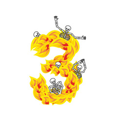Number 3 hellish flames and sinners font fiery vector