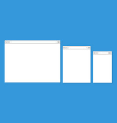 open internet browser window in a flat style vector image vector image