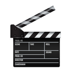 Opened realistic cinema or film clapper vector