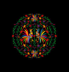 Otomi style ethnic mexican tapestry embroidery vector