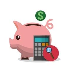 Piggy and digital marketing design vector