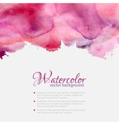 Pink watercolor blots pattern top frame vector