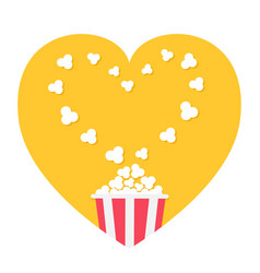 Popcorn popping heart shape frame red yellow vector