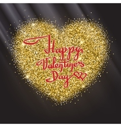 Postcard of Valentine s day with a heart gold and vector image