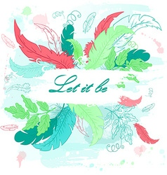 printable hand drawn with feather on watercolor vector image