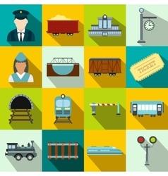 Railroad flat icons set vector image