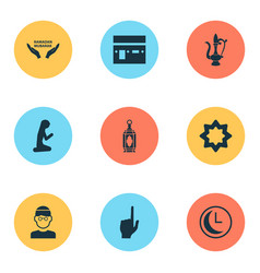 Ramadan icons set includes icons such as mubarak vector