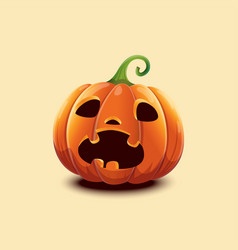 realistic halloween pumpkin scared face vector image