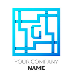 Realistic letter g logo in colorful square maze vector