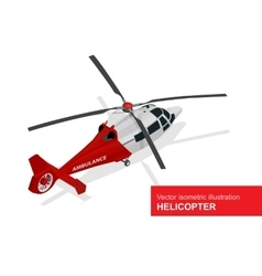 Red helicopter isometric of vector
