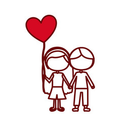Red silhouette of caricature faceless couple kids vector
