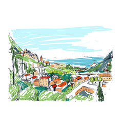 Remarkable georgian landscape sketch colorful vector