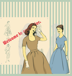 retro image of girls and a sewing studio vector image