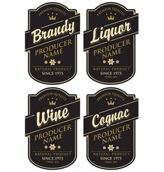 Retro labels for various alcoholic beverages vector