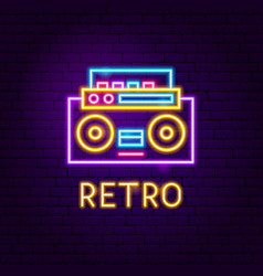 retro recorder neon label vector image