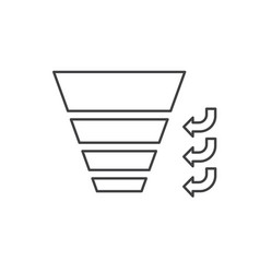 sales funnel with stages of the process vector image