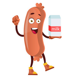 sausage with milk on white background vector image