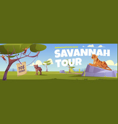 savannah tour cartoon landing page zoo park vector image