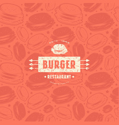Seamless pattern and emblem for burger restaurant vector
