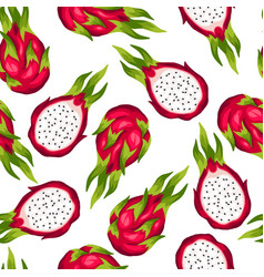 Seamless pettern with dragon fruit isolated on vector