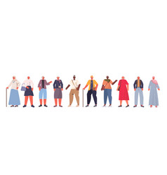Set mix race old women in casual trendy clothes vector