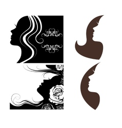 Set of beautiful silhouettes of women vector