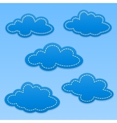 Set of cloud paper tags Clouds with white dotted vector image