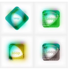 set of square loop business symbols vector image