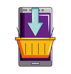 smartphone online shopping basket isolated vector image